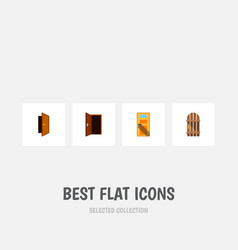 flat icon approach set of entry approach wooden vector image