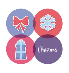 gift box with bow and snowflake of christmas vector image