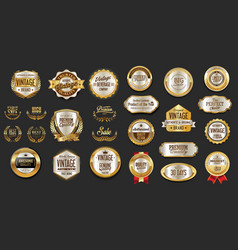Gold and silver luxury badges retro design vector