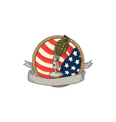 Grenade Microphone USA Flag Circle Retro vector