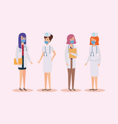 Group doctors and nurses with face mask vector