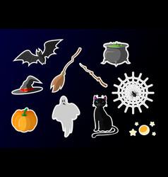 halloween icon design set halloween cat witch hat vector image