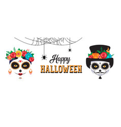Happy halloween poster banner and card with woman vector