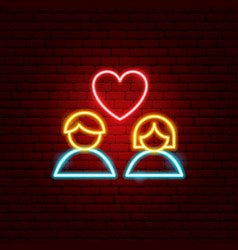 heart couple neon sign vector image