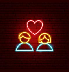 Heart couple neon sign vector