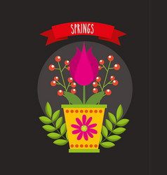 Hello spring poster with flowers in ceramic pot vector