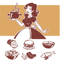Homemade cooking of pinup housewife vector