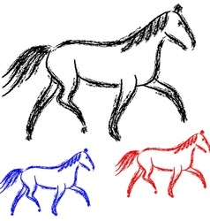 Horses outlines collection vector