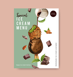 Ice cream poster design with chocolate watercolor vector