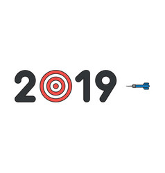 icon concept 2019 with bulls eye and dart vector image