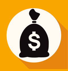 icon money bag on white circle with a long shadow vector image