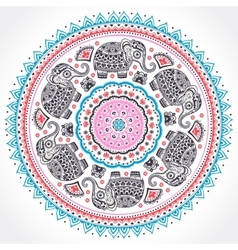 indian ethnic mandala ornament with tribal aztec vector image
