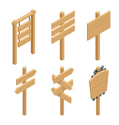 Isometric set of a wooden signboards empty vector