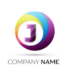 Letter j logo symbol in the colorful circle on vector