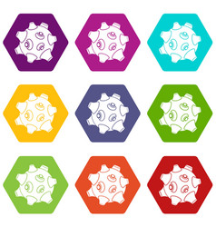 moon with craters icon set color hexahedron vector image