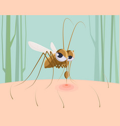 mosquito sucking blood funny pest insect vector image