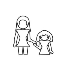 Mother and daughter loving outline vector
