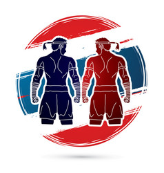 Muay thai thai boxing sport pose vector