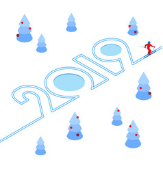 New year 2019 concept - skier vector