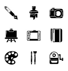 Painting work icons set simple style vector