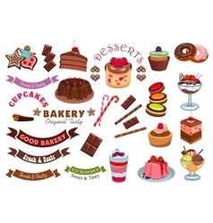 Pastry and bakery shop cafe emblem design element vector image