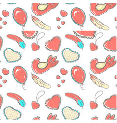 pattern of hand drawn hearts vector image