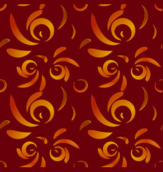 pattern of red doodles and curls in floral vector image
