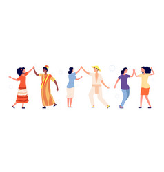 people greetings happy couples high five together vector image