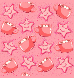 pink gingerbread with strawberry jam vector image