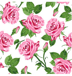 Pink roses and leaves seamless pattern vector