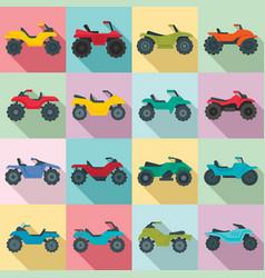 quad bike icons set flat style vector image