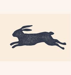 rabbit hare silhouette vintage logo retro vector image