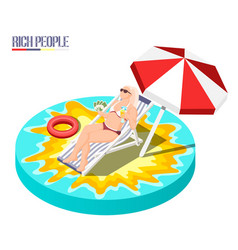 rich people isometric composition vector image