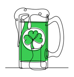 saint patrick day beer continuous line vector image