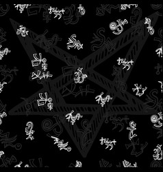 seamless background with white mystic symbols on b vector image