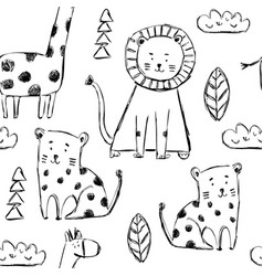 Seamless childish pattern with cute animals vector