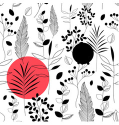 seamless floral pattern plants and flowers vector image
