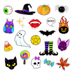 Set of patches for halloween vector
