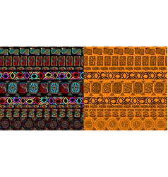 set of seamless background ethnic hand drawn vector image