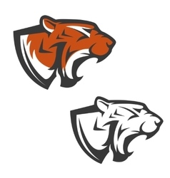 Set tiger heads sport team mascot design vector