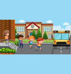 Student go back home by bus vector