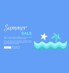 Summer sale web poster with abstract sea or ocean vector