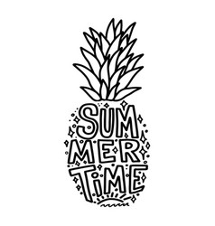 summertime silhouette pineapple with lettering vector image