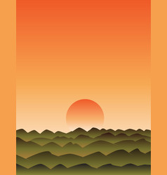 Sunset with mountains vector