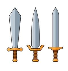 Swords cartoon style set on white background vector