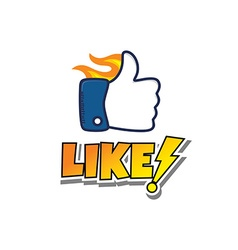 thumb up hot fire hand gesture sign cartoon vector image