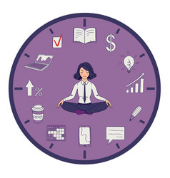 Time management yoga pose girl vector