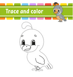 Trace and color quail bird coloring page for kids vector
