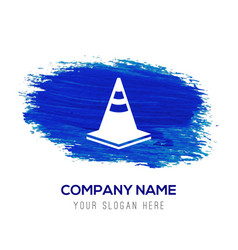 traffic cone icon - blue watercolor background vector image