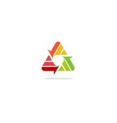 Triangle shape line colorful circle logo vector